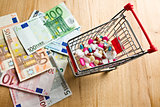pills in shopping cart and dollars