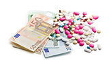 colorful pills with euro bills