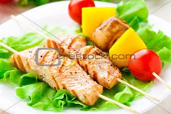 Grilled salmon and vegetable skewers