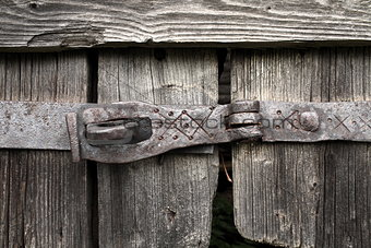 Old forged door latch