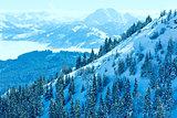 Winter misty mountain landscape