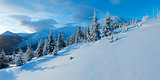 Morning winter mountain panorama (Carpathian, Ukraine).