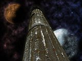 Mystical pillar with stars and planets