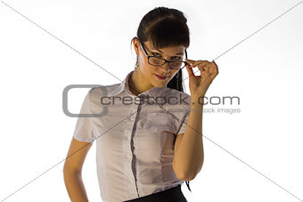 Business lady looking over glasses