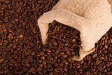 Burlap sack of coffee beans