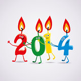vector new year 2014 card with  candles