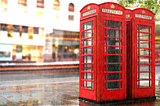 Rainy day.Red Phone cabines in London