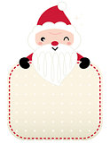 Cute retro Santa greeting with banner isolated on white