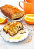 Orange cake with poppy seeds and zest