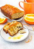 Orange cake with poppy seeds and zest