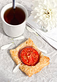 Tomato tart  and cup of tea