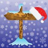 winter arrow and Santa hat