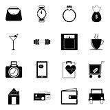Adult lifestyle icons on white background