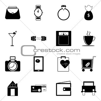Adult lifestyle icons on white background