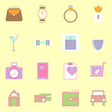 Simple lifestyle color icons on yellow background