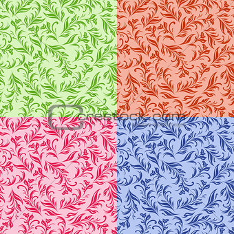 Four stylized swirl floral images