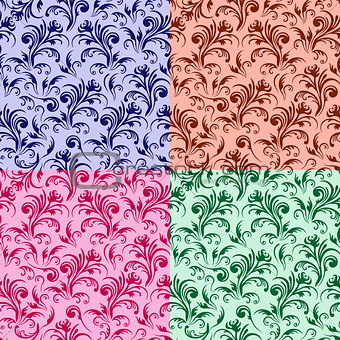 Four stylized swirl floral patterns