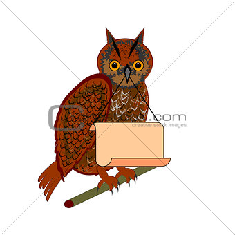 An owl holding a big blank paper in his beak