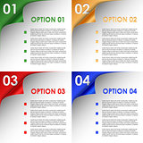 Options of colorful bent corners background