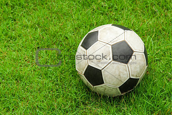 Green grass soccer field with ball