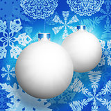 White christmas balls and snowflakes