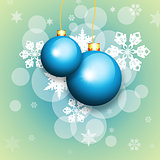 Blue christmas balls and snowflakes