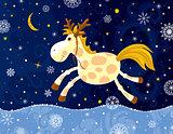 Running Horse In Winter