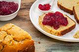 coconut bread with cranberry sauce