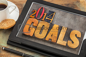 2014 goals on digital tablet