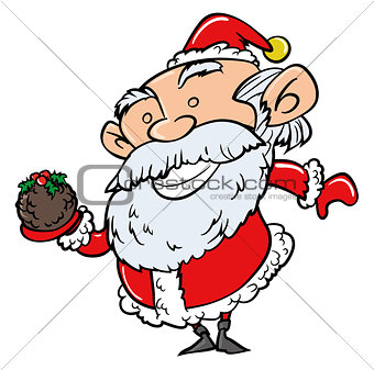 Cartoon Santa with Xmas pudding