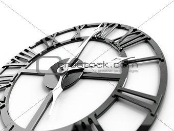 old dark metallic clock on a white background