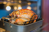 Turkey Roasting in Oven Bokeh Background