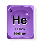 Helium, chemical element with atomic number, symbol and weight
