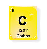 Carbon, chemical element with atomic number, symbol and weight