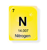 Nitrogen, chemical element with atomic number, symbol and weight