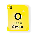 Oxygen, chemical element with atomic number, symbol and weight