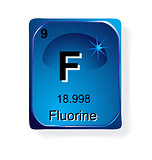 Fluorine, chemical element with atomic number, symbol and weight