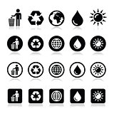 Man and bin, recycling, globe, eco power icons set