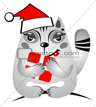 christmas cat with gift