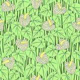 seamless abstract anturium flower pattern
