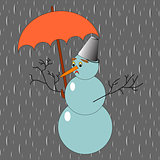 A sad snowman with umbrella in the rain