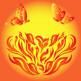 Butterflies over a fiery flower