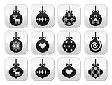 Christmas ball, christmas bauble vector buttons set