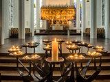 Candles in Protestant Nikolai church, Kiel