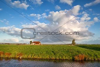 charming farmhouse and beautiful sky