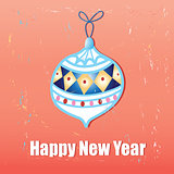 New year greeting card with Christmas decorations