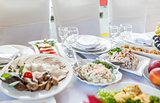 wedding banquet in a restaurant, served table