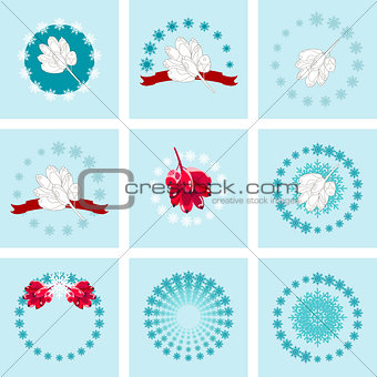 backgrounds with barberry and snowflakes