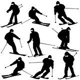 Mountain skier  man speeding down slope. Vector sport silhouette