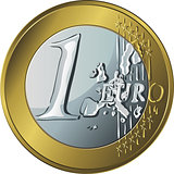 vector  money gold coin one euro
